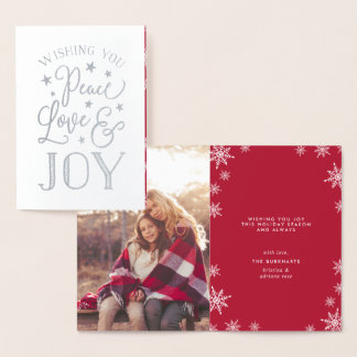 Peace, Love & Joy | Christmas Photo Silver Foil Card