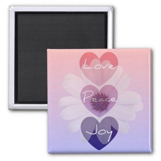 Peace, Love, Joy Flower Magnet