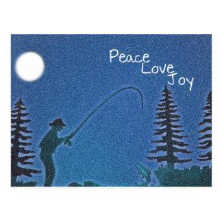 Peace, Love, Joy / Fly Fisherman in Snow Postcard