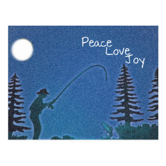 Peace Love Joy Fly Fisherman in Snow Postcards