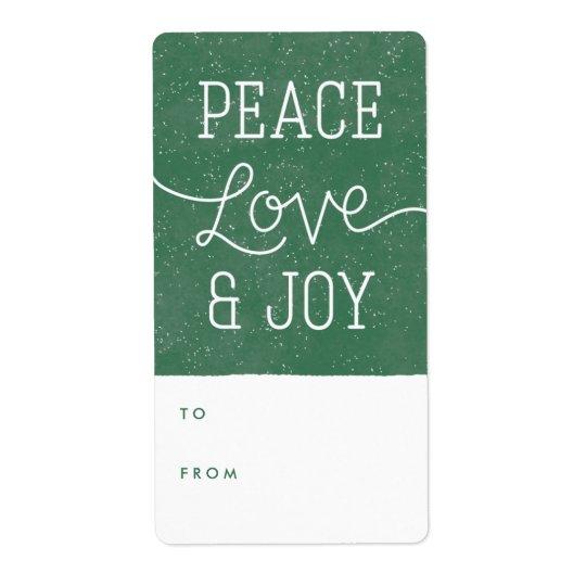 Peace Love & Joy Gift Tag Label - Pine