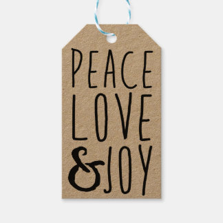 Peace, Love & Joy Gift Tags - Add Your Own Name