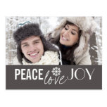 Peace Love Joy Grey Snowflake Holiday Postcards