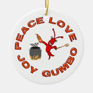 Peace Love Joy Gumbo Cajun Crawfish Ornament