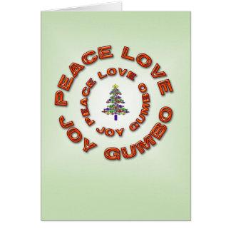 Peace,Love,Joy,Gumbo Fleur de Lis Xmas Tree Card