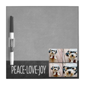 Peace Love Joy Holiday Chalkboard Photo Collage Dry Erase Board