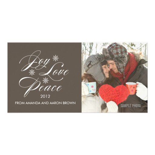 PEACE LOVE JOY HOLIDAY PHOTO CARD TAUPE