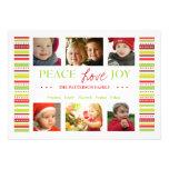 Peace Love Joy Holiday Stripes Photo Card Greeting Custom Invitations
