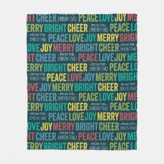 Peace Love Joy Merry Cheer with custom Family Name Fleece Blanket
