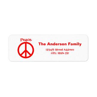 Peace, Love, Joy Peace Sign - Address Label