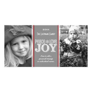 Peace Love & Joy - Photo Card Gray Red