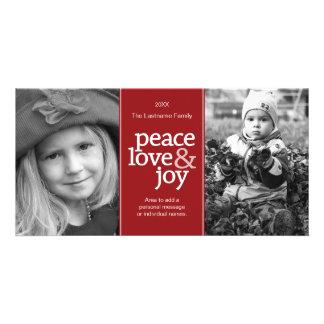 Peace Love & Joy - Photo Card Red White