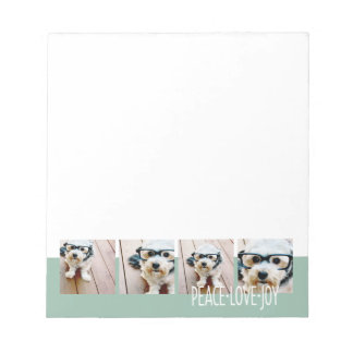 Peace Love Joy Photo Collage Holiday Greeting Notepad