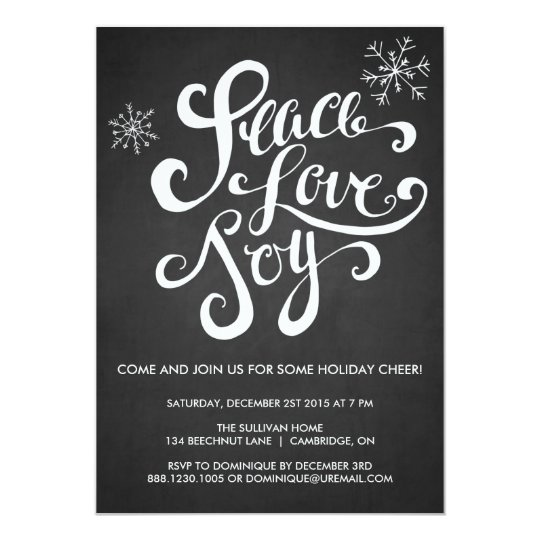 Peace, Love & Joy Rustic Holiday Party Invitation