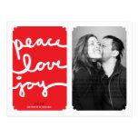 Peace Love Joy Simple Christmas Photo Postcard