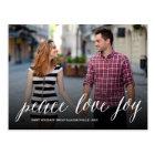 Peace Love Joy Simple Script Holiday Postcard