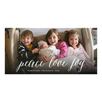 Peace Love Joy Simple Script Photo Holiday Card Photo Greeting Card