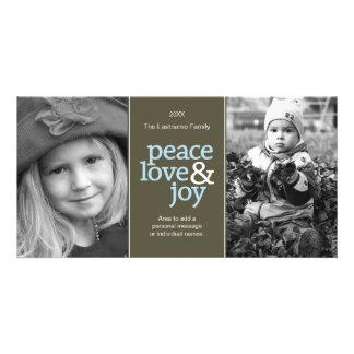 Peace Love & Joy - Taupe and Blue 2 Photos Card