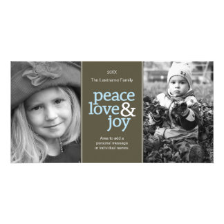 Peace Love & Joy - Taupe and Blue 2 Photos Photo Card Template
