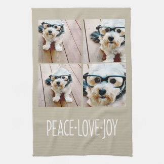 Peace Love Joy Taupe Holiday Photo Collage Tea Towel