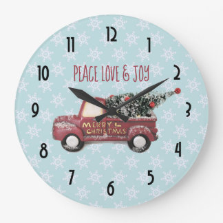 Peace Love & Joy Toy Truck Merry Christmas Large Clock