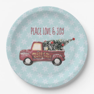 Peace Love & Joy Toy Truck Merry Christmas Paper Plate