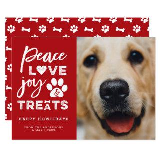 Peace Love Joy Treats Dog Lover Holiday Photo Card 13 Cm X 18 Cm Invitation Card