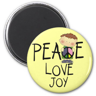 Peace Love Joy Tshirts and Gifts 6 Cm Round Magnet