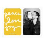 Peace Love Joy Yellow Christmas Photo Postcard