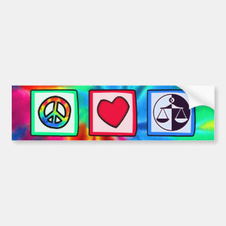 Peace, Love, Justice Bumper Sticker