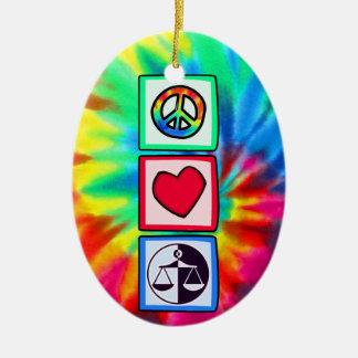 Peace, Love, Justice Ceramic Oval Decoration