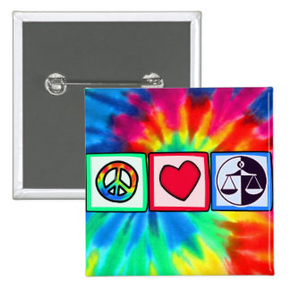 Peace Love Justice Pinback Buttons