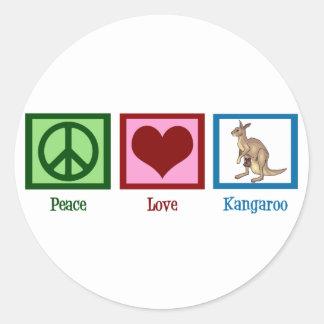 Peace Love Kangaroo Classic Round Sticker