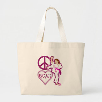 Peace Love Karate Girl Customize Personalized Large Tote Bag