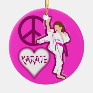 Peace Love Karate Girl Customize Personalized Round Ceramic Decoration