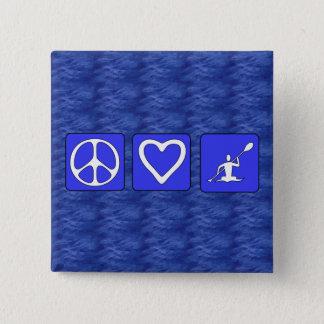 Peace Love Kayaking 15 Cm Square Badge
