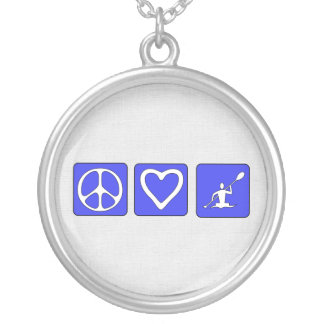 Peace Love Kayaking Round Pendant Necklace