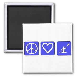 Peace Love Kayaking Square Magnet