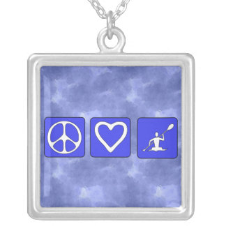 Peace Love Kayaking Square Pendant Necklace