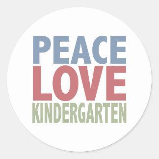 Peace Love Kindergarten Classic Round Sticker