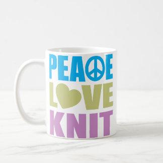 Peace Love Knit Basic White Mug