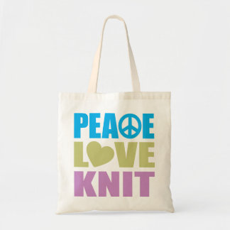 Peace Love Knit Budget Tote Bag