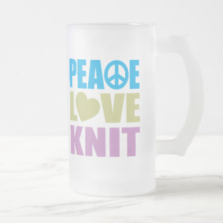 Peace Love Knit Frosted Glass Mug