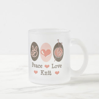 Peace Love Knit Frosted Mug
