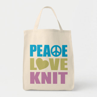 Peace Love Knit Grocery Tote Bag