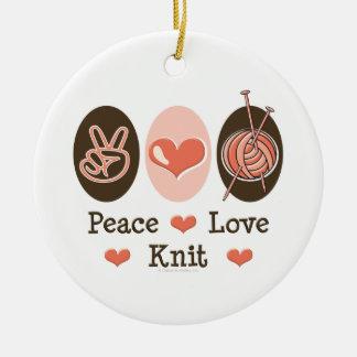 Peace Love Knit Ornament