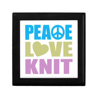 Peace Love Knit Small Square Gift Box