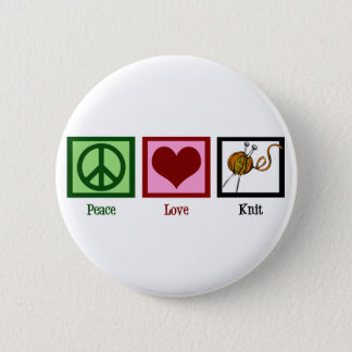 Peace Love & Knitting 6 Cm Round Badge