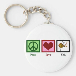 Peace Love & Knitting Basic Round Button Key Ring
