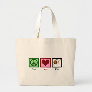 Peace Love Knitting Canvas Bags